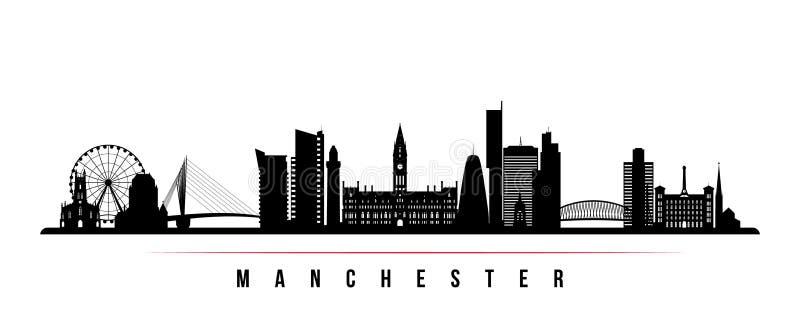Van de de stadshorizon van Manchester de horizontale banner royalty-vrije illustratie