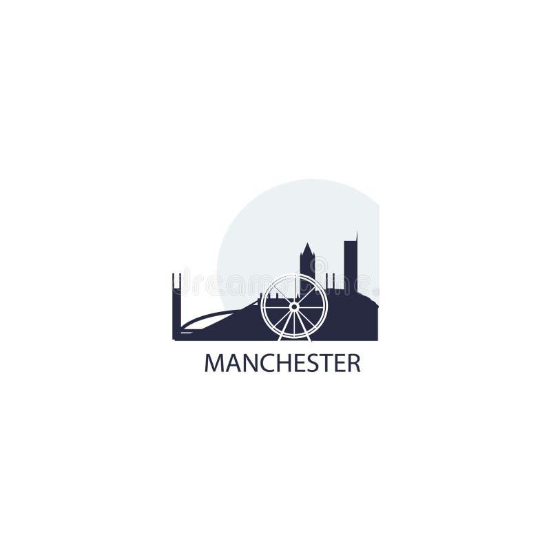 Van de de stadshorizon van Manchester illustratie van het het silhouet de vectorembleem vector illustratie