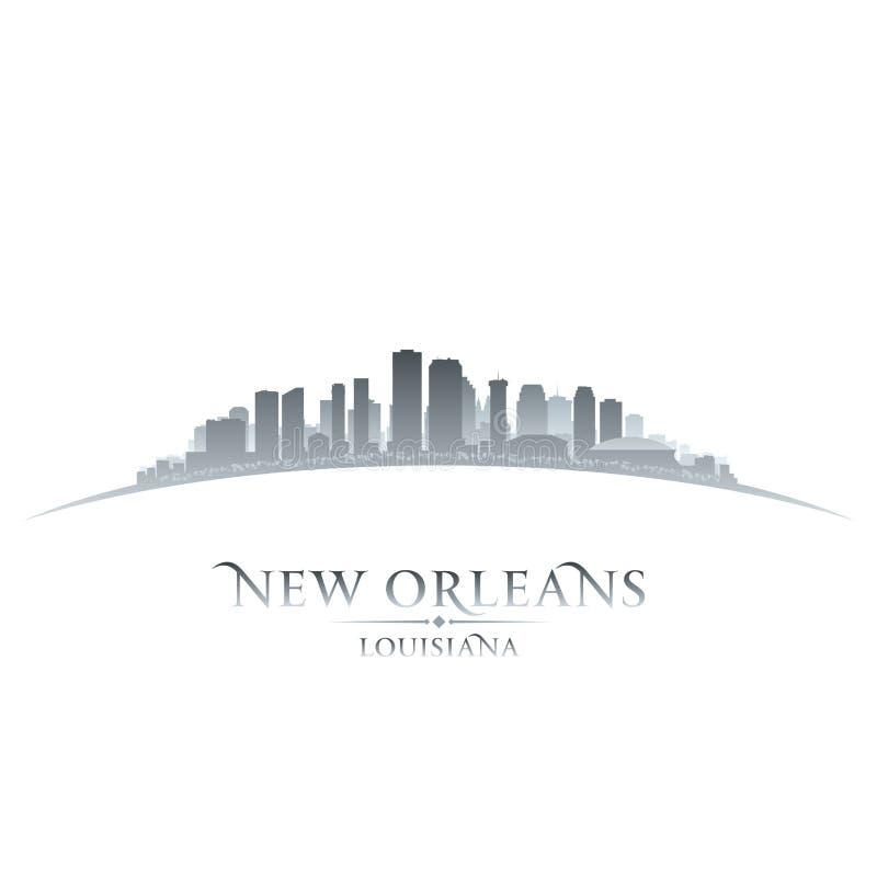 Van de de stadshorizon van New Orleans Louisiane het silhouet witte achtergrond royalty-vrije illustratie