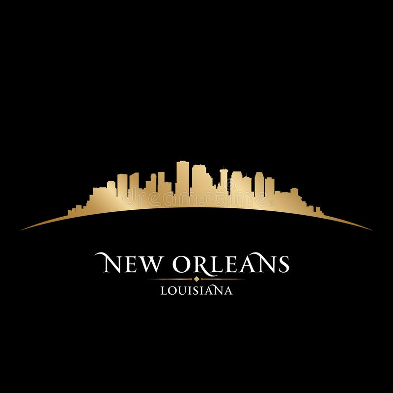 Van de de stadshorizon van New Orleans Louisiane het silhouet zwarte achtergrond vector illustratie