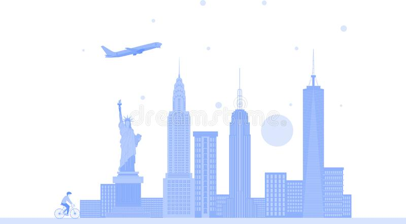 Van de de stadshorizon van New York Verenigde Staten de vectorachtergrond Vlakke in illustratie royalty-vrije illustratie