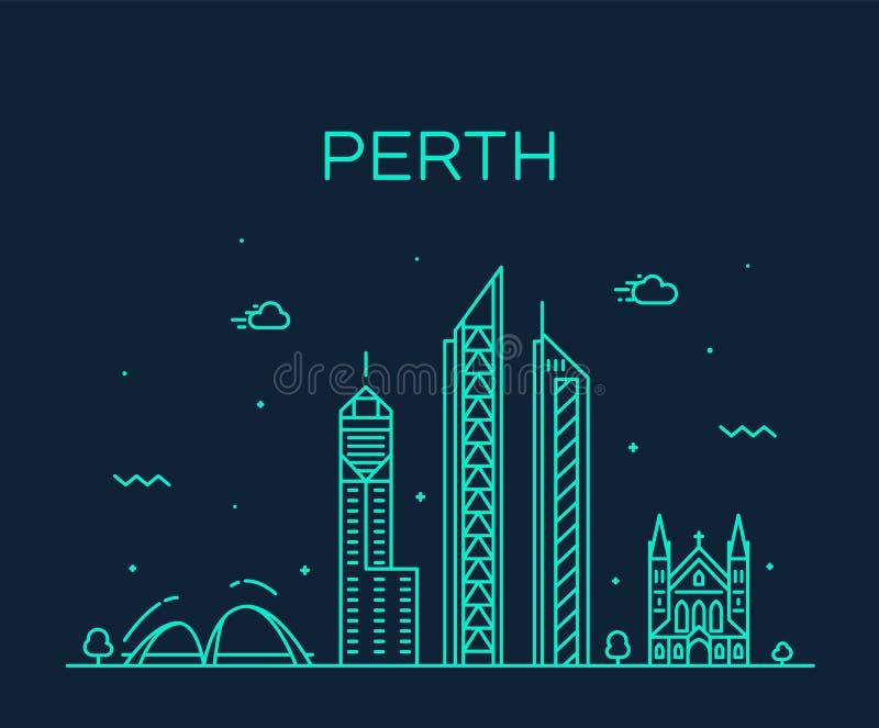 Van de de stadshorizon van Perth lineaire de vector van Westelijk Australië royalty-vrije illustratie