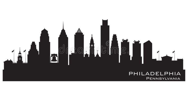 Van de de stadshorizon van Philadelphia Pennsylvania het vectorsilhouet stock illustratie