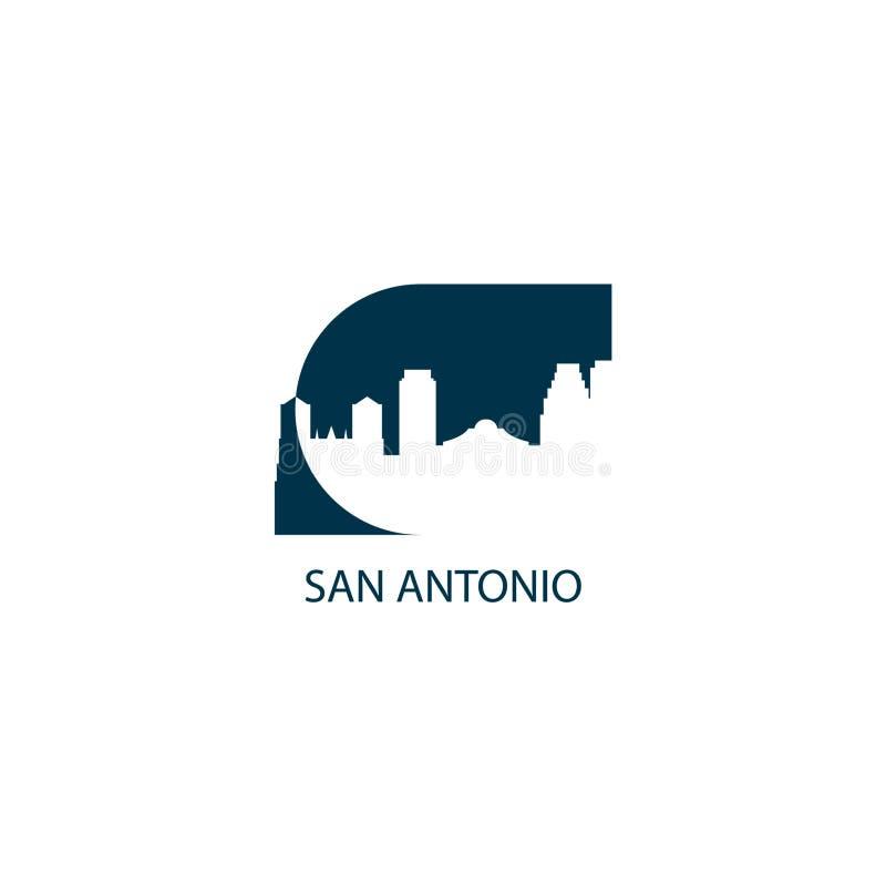 Van de de stadshorizon van San Antonio illustratie van het het silhouet de vectorembleem stock illustratie
