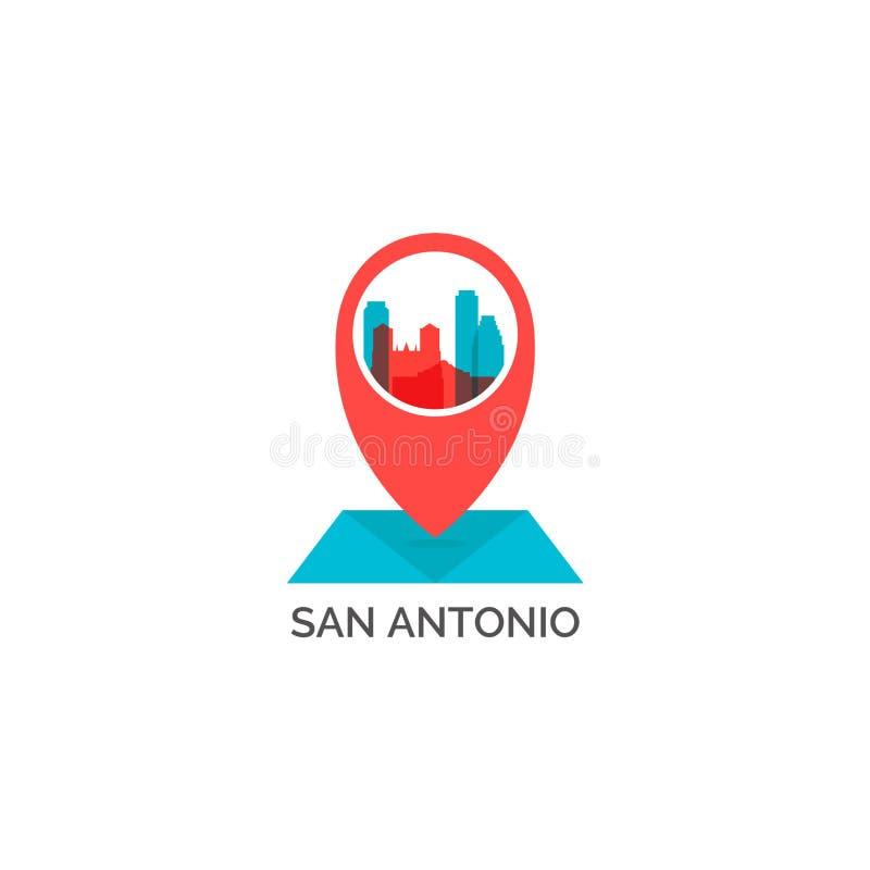 Van de de stadshorizon van San Antonio illustratie van het het silhouet de vectorembleem royalty-vrije illustratie