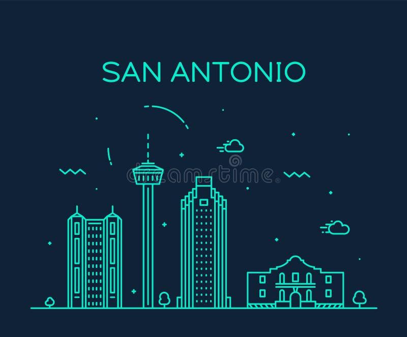 Van de de stadshorizon van San Antonio lineaire de vector van Texas de V.S. royalty-vrije illustratie