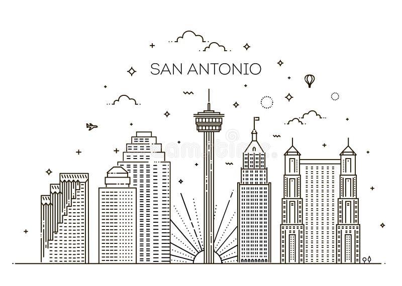Van de de stadshorizon van San Antonio de vectorachtergrond stock illustratie