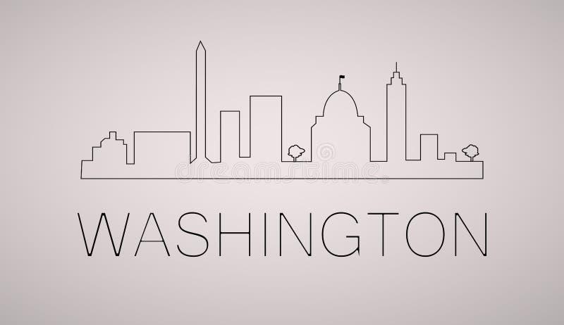 Van de de stadshorizon van Washington gelijkstroom het zwart-witte silhouet Vector illustratie royalty-vrije illustratie