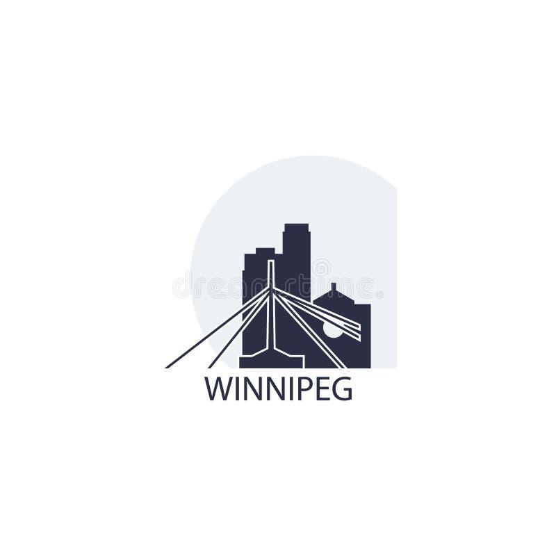 Van de de stadshorizon van Winnipeg illustratie van het het silhouet de vectorembleem vector illustratie