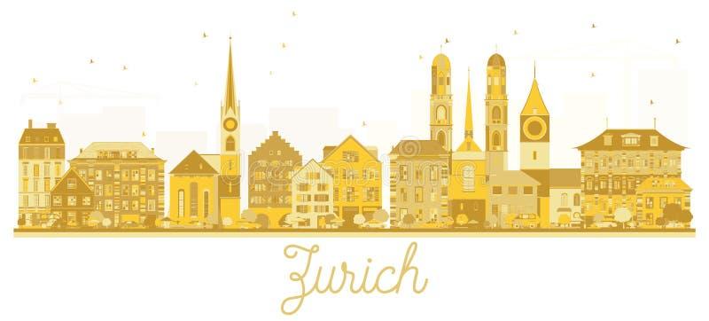Van de de Stadshorizon van Zürich Zwitserland het gouden silhouet vector illustratie