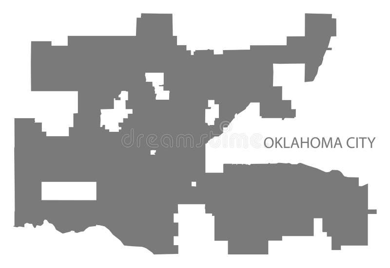 Van de de stadskaart van Oklahoma grijs de illustratiesilhouet stock illustratie