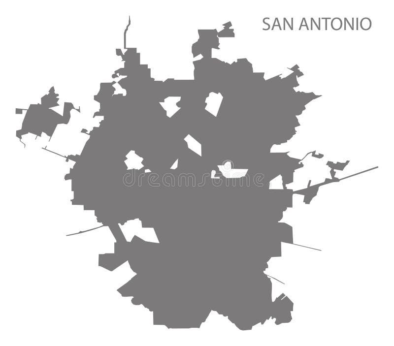 Van de de stadskaart van San Antonio vorm van het de illustratiesilhouet de grijze stock illustratie