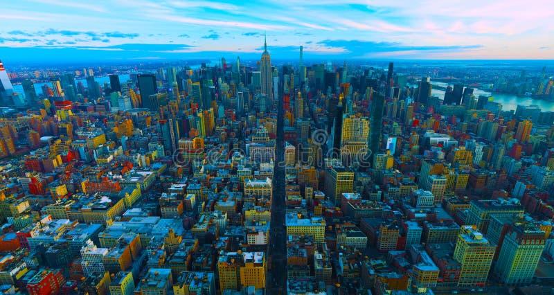 Van de Stadsmanhattan van New York satellietbeeld van de binnenstad 2019 de V.S. stock foto's