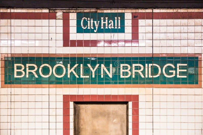 Van de de Stadsmetro van New York de Poststad Hall Brooklyn Bridge stock afbeelding