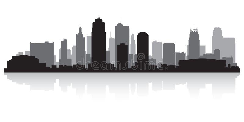 Van de stadsmissouri van Kansas de horizonsilhouet vector illustratie