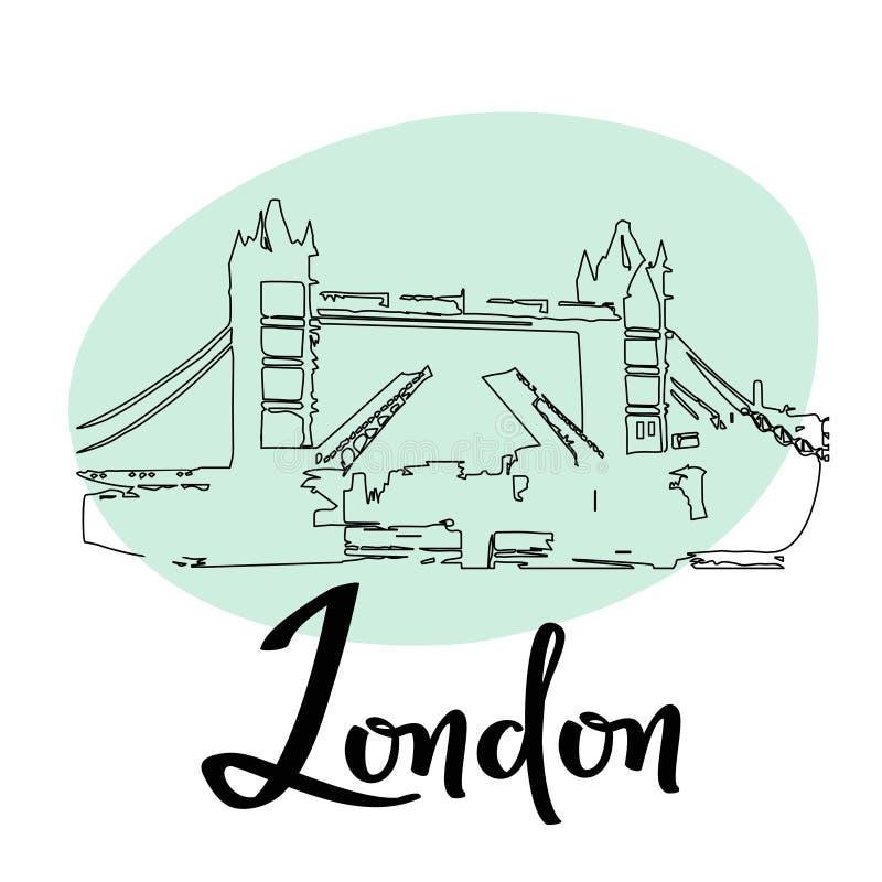 Van de de stadstoren van Londen de illustratie van de de Brugschets Vector eenvoudige krabbelkaart met de historische bouw stock illustratie