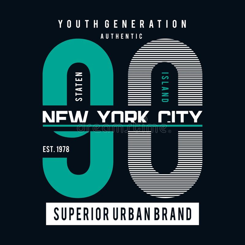 Van de de stadstypografie van New York de grafische kunst voor t-shirt royalty-vrije illustratie