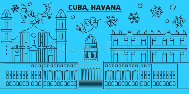 Van de de stadswinter van Cuba, Havana de vakantiehorizon Vrolijke Kerstmis, Gelukkige Nieuwjaar verfraaide banner met Santa Clau royalty-vrije illustratie