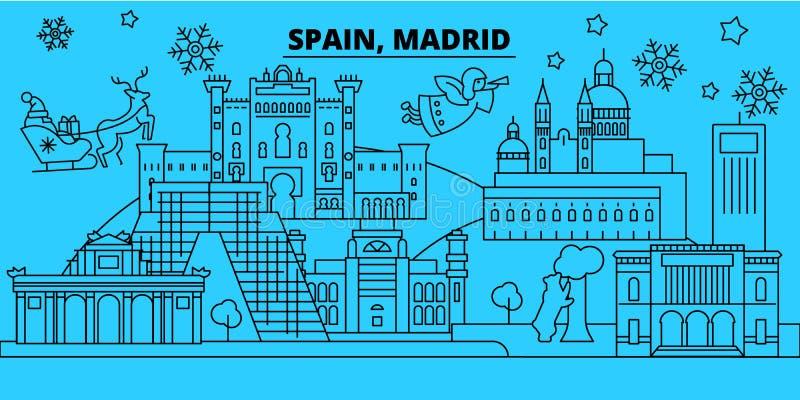 Van de de stadswinter van Spanje, Madrid de vakantiehorizon Vrolijke Kerstmis, Gelukkige Nieuwjaar verfraaide banner met Santa Cl stock illustratie