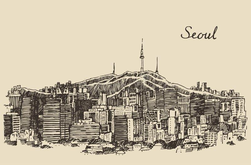 Van de StadsZuid-Korea van Seoel de Speciale uitstekende schets royalty-vrije illustratie