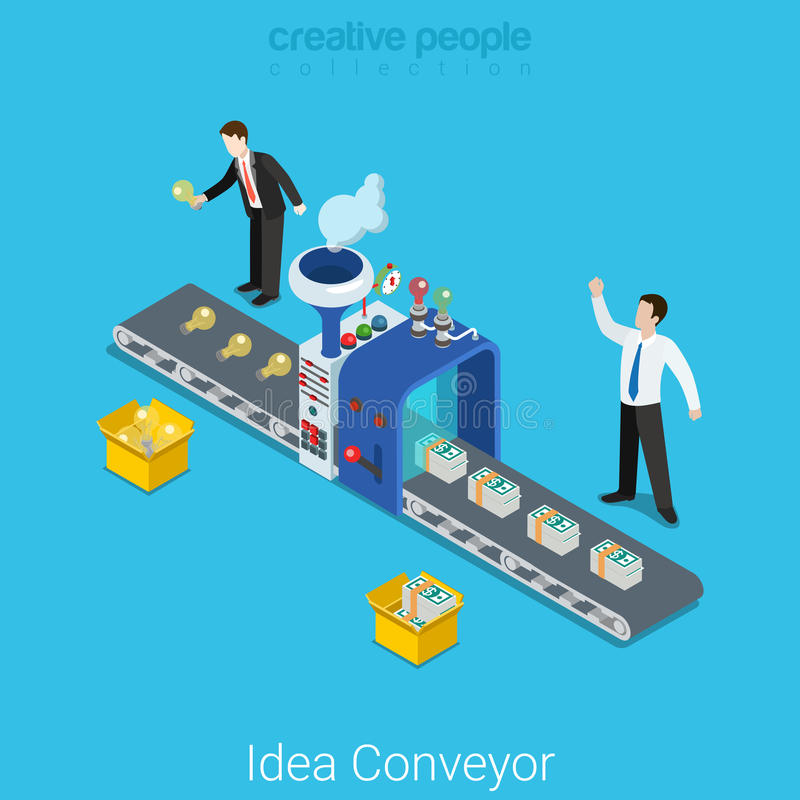 Van de start ideetransportband bedrijfs vlakke 3d vector isometrisch royalty-vrije illustratie
