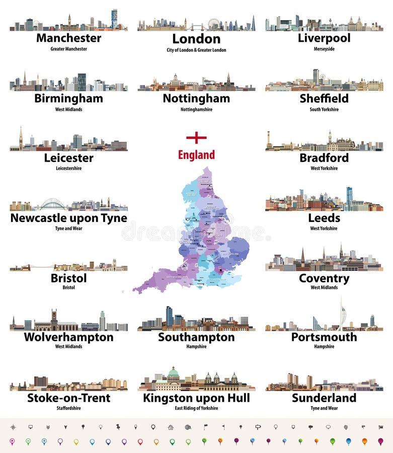 Van de stedenhorizonnen van Engeland grootste de pictogrammen vectorreeks Kaart en vlag van Engeland vector illustratie