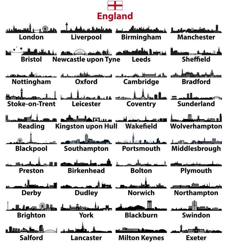 Van de stedenhorizonnen van Engeland de vectorsilhouetten vector illustratie