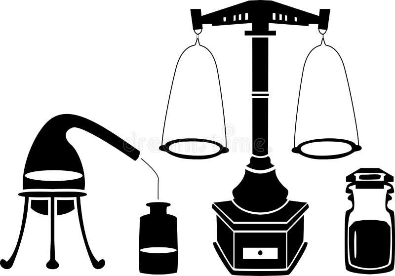 Van de stencil de de vastgestelde schalen van de alchimie fles en fles stock illustratie
