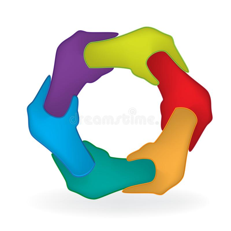 Van de de sterktediversiteit van de handeneenheid de mensenembleem vector illustratie