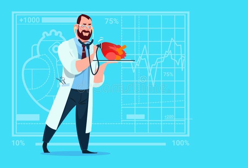 Van de Stethoscoop het Medische Klinieken van Examining Heart With van de artsencardioloog de Arbeidersziekenhuis stock illustratie