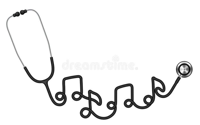 Van de stethoscoop het zwarte die kleur en muziek symbool van het notateken van kabel wordt gemaakt stock illustratie
