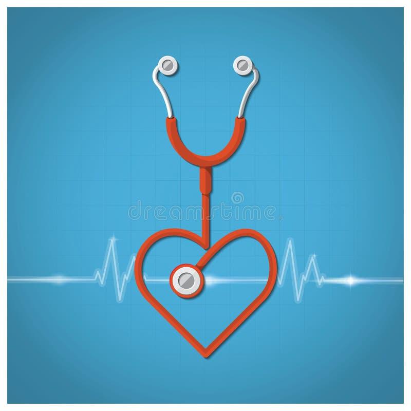 Van de Stethoscoopvalentine van de hartvorm de Dagachtergrond stock illustratie