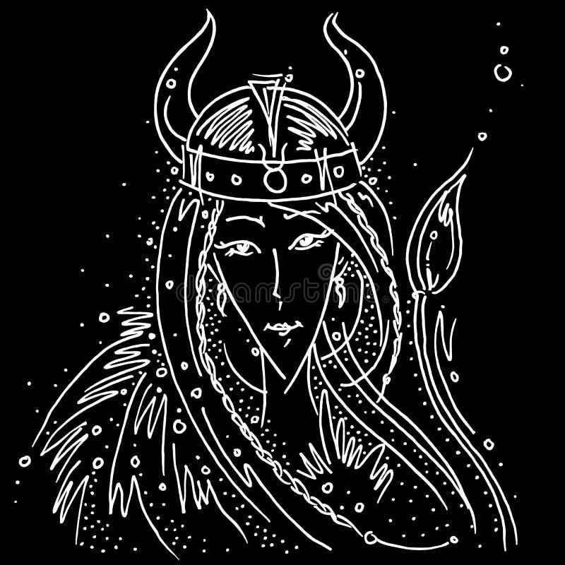 Van de de Stier zwart-witte tekening van het dierenriemteken het meisjeshelm van Viking met hoornen dierlijke staart stock illustratie