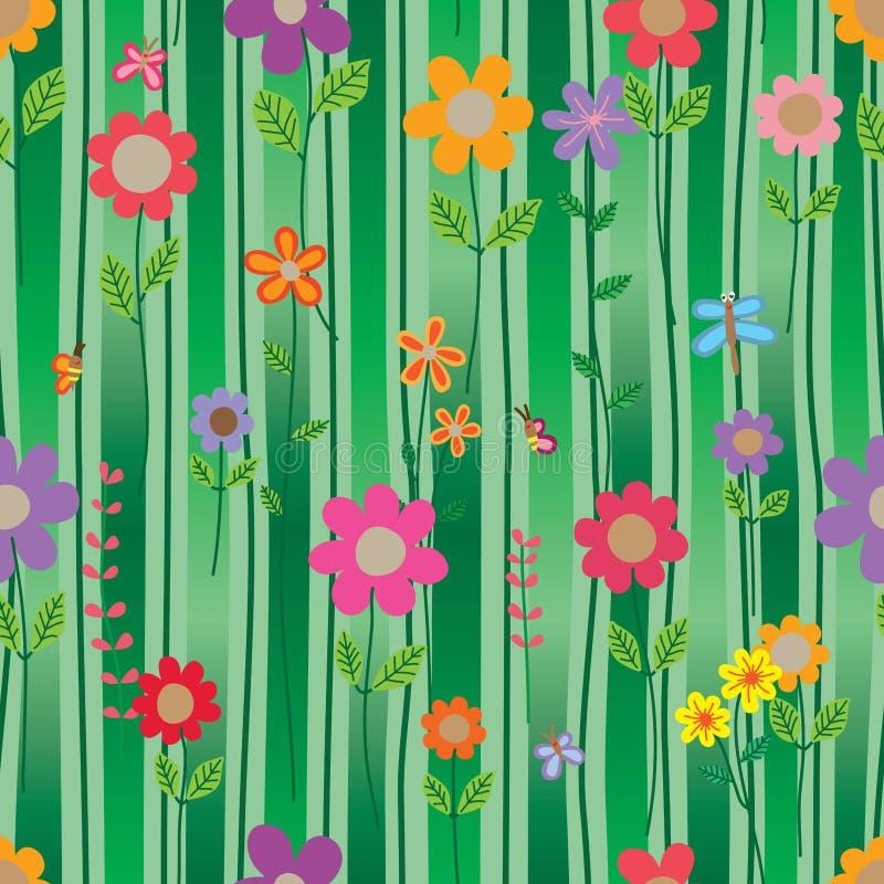 Van de de stijl verticaal lijn van het bloeminsect de gradiënt groen naadloos patroon stock illustratie