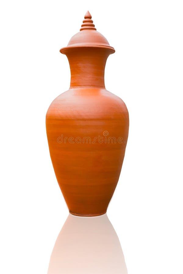 Van de de stijlvaas van Wiangkalong gemaakte hand van de het aardewerk de oranje kleur - royalty-vrije stock afbeeldingen