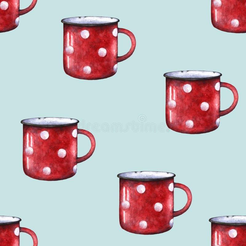 Van de de stipmok van het waterverf rood email de kop naadloos patroon Decoratieve retro chevron Blauwgroen vector illustratie