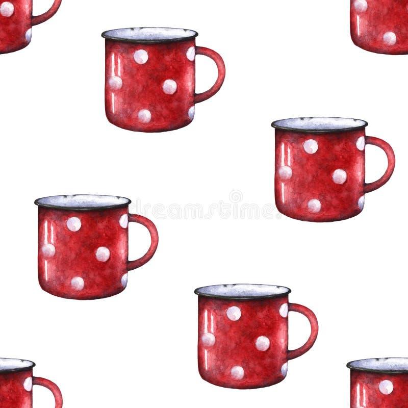 Van de de stipmok van het waterverf rood email de kop naadloos patroon Decoratieve retro chevron royalty-vrije illustratie