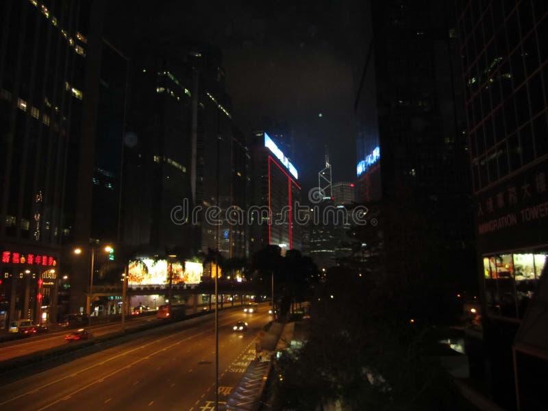 Van de de straatweg van Hongkong de nachtmening royalty-vrije stock foto's