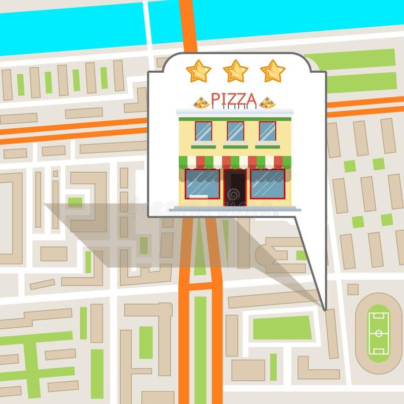 Van de de straatwegenkaart van de pizzastad van het de plaatsoriëntatiepunt de stedelijke van het de stads vlakke ontwerp vectori vector illustratie