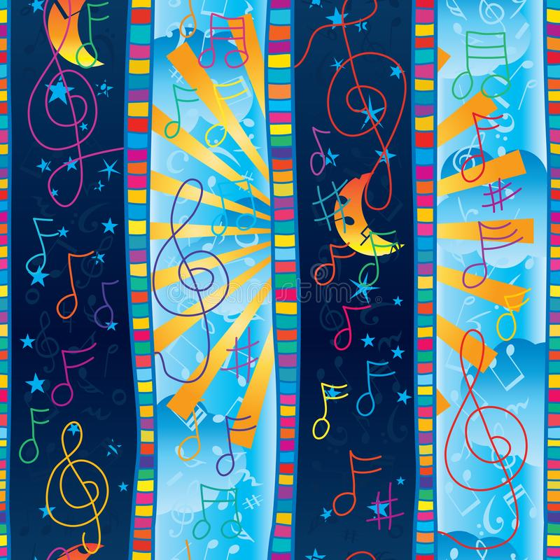 Van de de streep verticaal ochtend van de muzieknota kleurrijk de nacht naadloos patroon stock illustratie