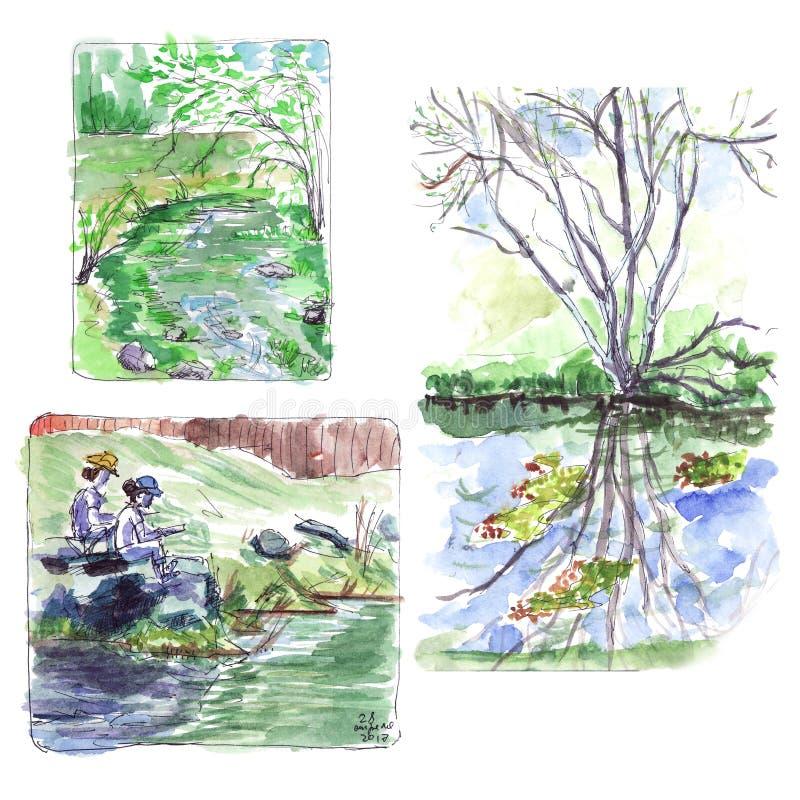Van de stroomkunstenaars van de de lenteberg de waterverfschets stock foto's