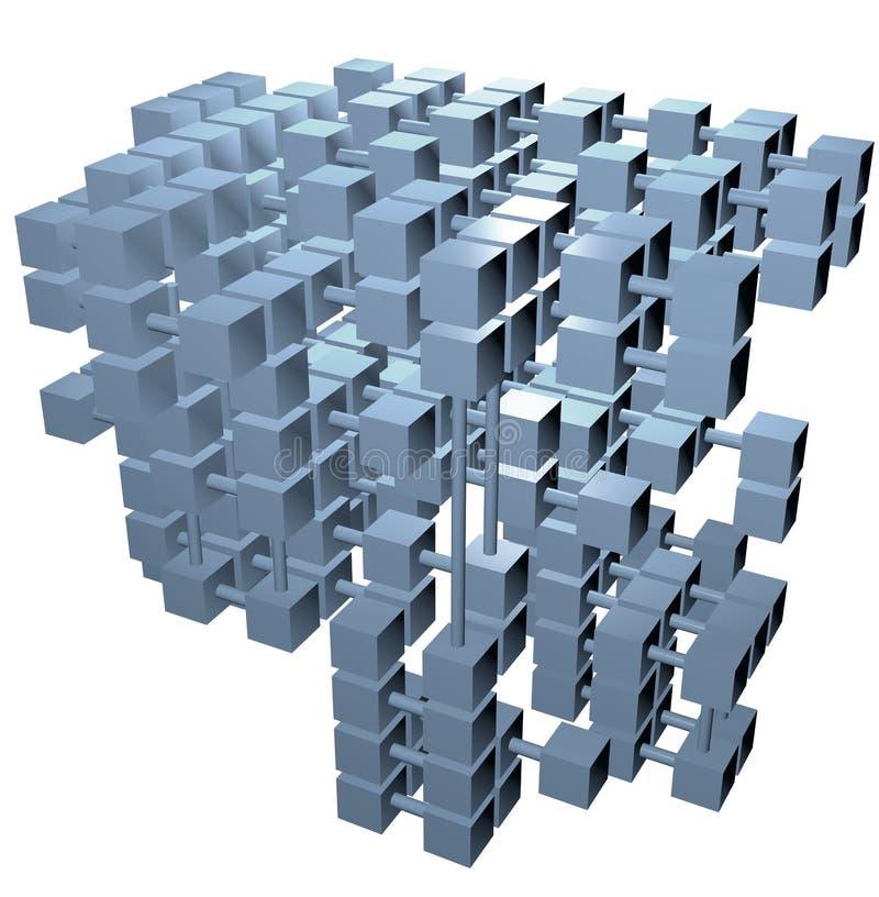 Van de structuurgegevens van het gegevensbestand de aanslutingen van het de kubussennetwerk vector illustratie