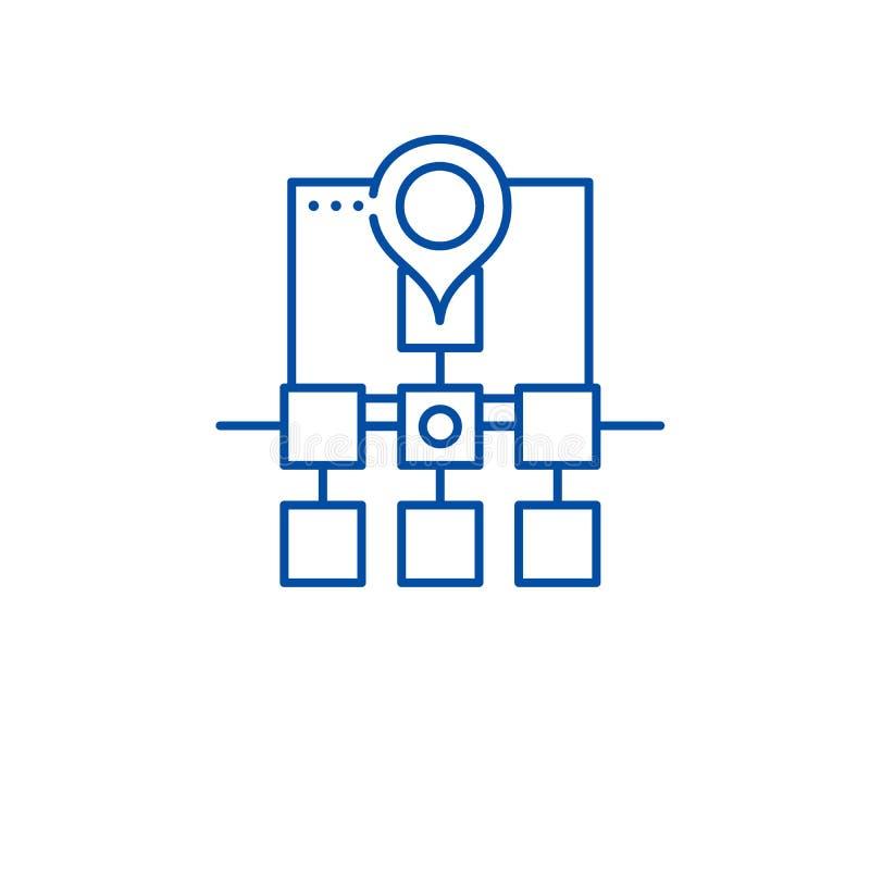 Van de de structuurlijn van het Sitemapweb het pictogramconcept De structuur vlak vectorsymbool van het Sitemapweb, teken, overzi royalty-vrije illustratie