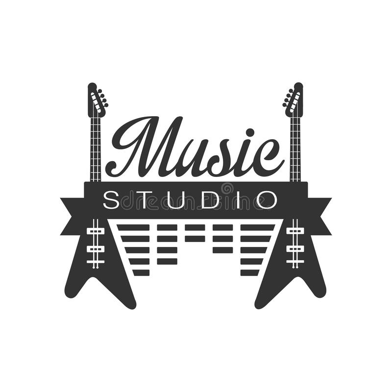 Van de Studio Zwart-witte Logo Template With Sound Recording van het muziekverslag Retro de Elementensilhouetten royalty-vrije illustratie