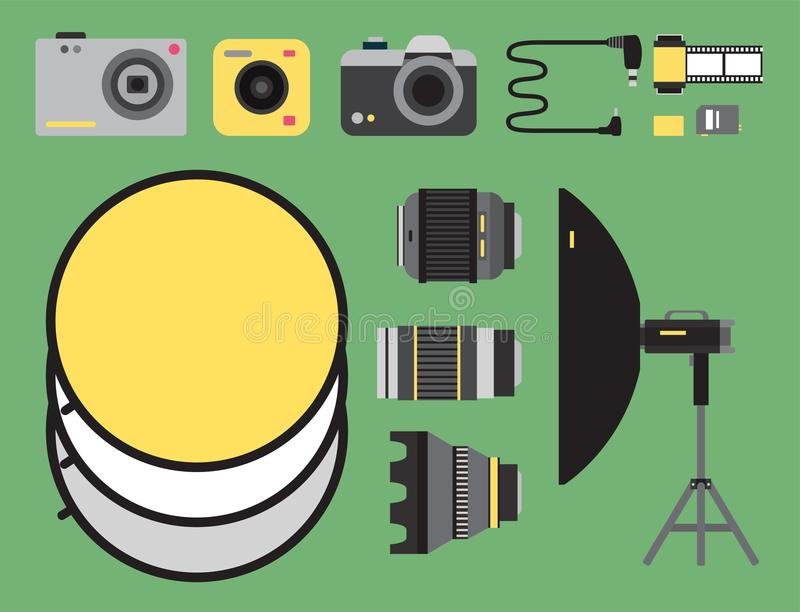 Van de studiopictogrammen van de camerafoto kijkt de vectorlenzentypes optische objectieve retro professionele fotograaf van het  royalty-vrije illustratie