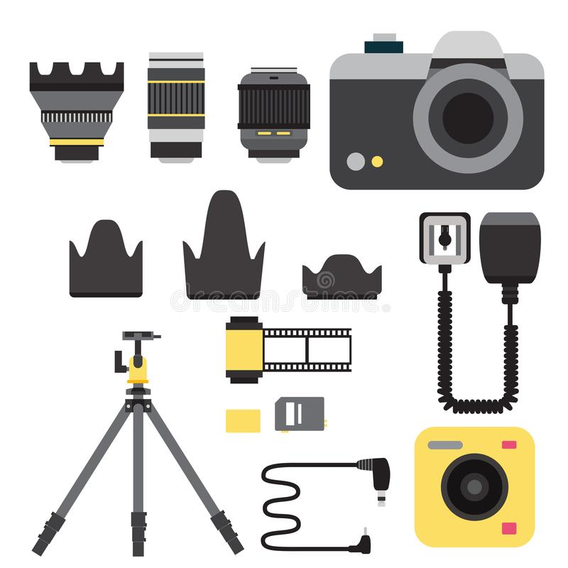 Van de studiopictogrammen van de camerafoto kijkt de vectorlenzentypes optische objectieve retro professionele fotograaf van het  vector illustratie