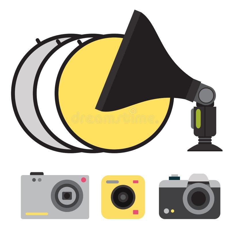 Van de studiopictogrammen van de camerafoto de vector optische lenzen stock illustratie