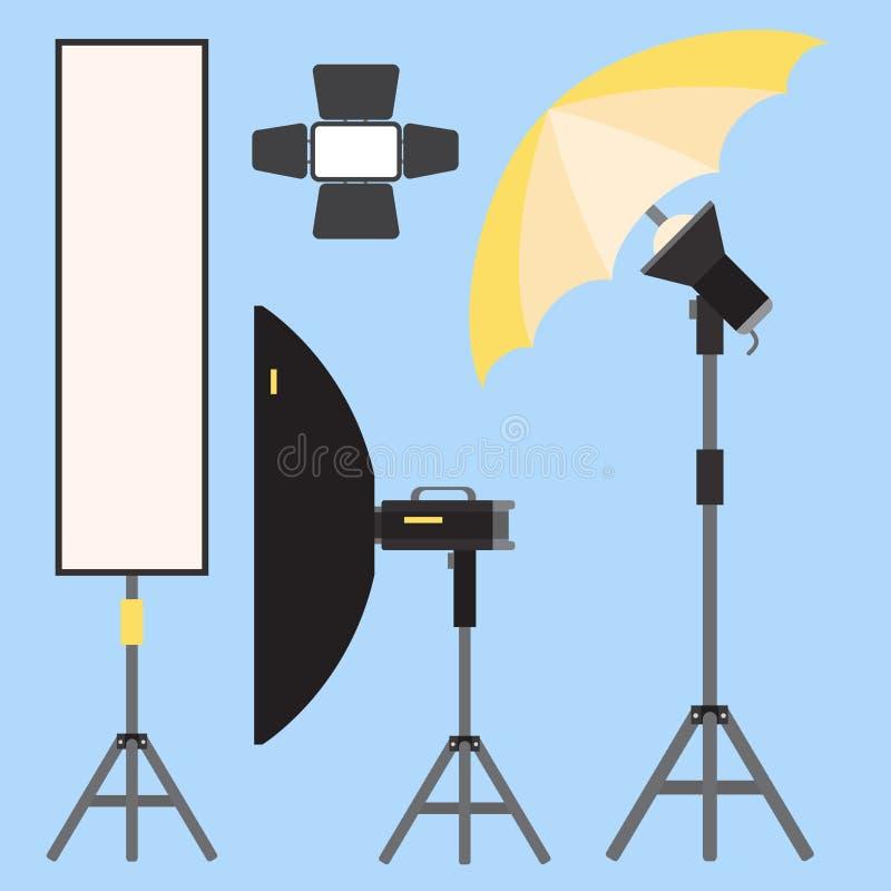 Van de studiopictogrammen van de camerafoto vectorlenzentypes optische objectieve retro stock illustratie