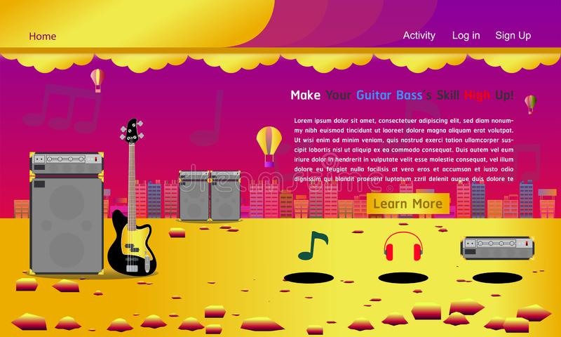 Van de de studiowebsite van de gitaar basmuziek het malplaatje gouden kleurrijke vectorillustratie eps10 vector illustratie