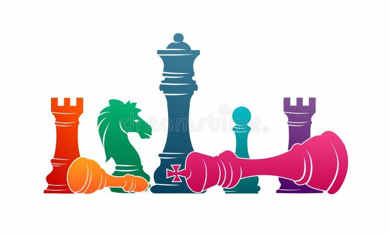 Van de stukkentoernooien van schaak de kleurrijke cijfers sport van de het spel vectorillustratie vector illustratie